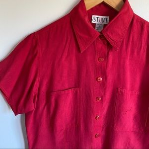 Vintage Silk Short Sleeved Button Down